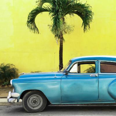 Cuba Fuerte Collection SQ - Beautiful Retro Blue Car-Philippe Hugonnard-Photographic Print