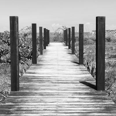 Cuba Fuerte Collection SQ BW - Boardwalk on the Beach-Philippe Hugonnard-Photographic Print