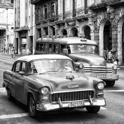 Cuba Fuerte Collection SQ BW BW - Taxi Cars Havana-Philippe Hugonnard-Photographic Print