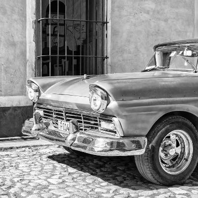 Cuba Fuerte Collection SQ BW- Close-up of American Classic Car-Philippe Hugonnard-Photographic Print