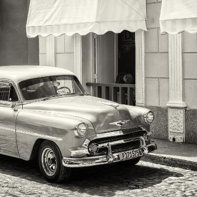 Cuba Fuerte Collection SQ BW - Close-up of Cuban Taxi Trinidad-Philippe Hugonnard-Photographic Print