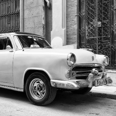 Cuba Fuerte Collection SQ BW - Close-up of Yellow Taxi of Havana-Philippe Hugonnard-Photographic Print