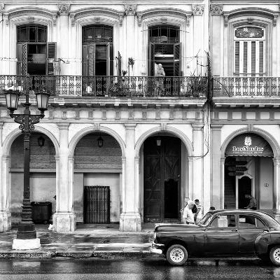 Cuba Fuerte Collection SQ BW - Colorful Architecture and Black Classic Car II-Philippe Hugonnard-Photographic Print
