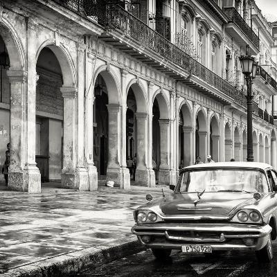 Cuba Fuerte Collection SQ BW - Colorful Buildings and Taxi Car-Philippe Hugonnard-Photographic Print