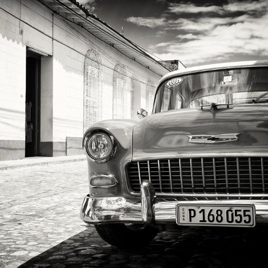 Cuba Fuerte Collection SQ BW - Old Classic Car 1955 Chevy-Philippe Hugonnard-Photographic Print