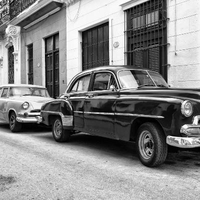 Cuba Fuerte Collection SQ BW - Two Classic Cars-Philippe Hugonnard-Photographic Print