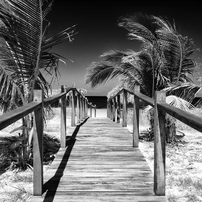 Cuba Fuerte Collection SQ BW - Wooden Jetty on the Beach-Philippe Hugonnard-Photographic Print