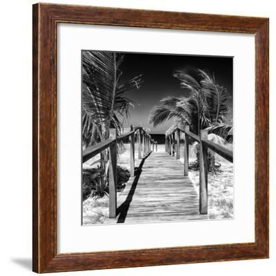 Cuba Fuerte Collection SQ BW - Wooden Jetty on the Beach-Philippe Hugonnard-Framed Photographic Print