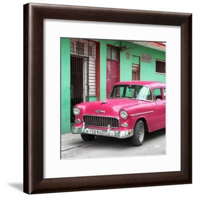 Cuba Fuerte Collection SQ - Classic American Pink Car in Havana-Philippe Hugonnard-Framed Photographic Print
