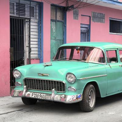 Cuba Fuerte Collection SQ - Classic American Turquoise Car in Havana-Philippe Hugonnard-Photographic Print
