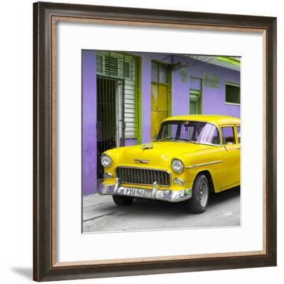 Cuba Fuerte Collection SQ - Classic American Yellow Car in Havana-Philippe Hugonnard-Framed Photographic Print
