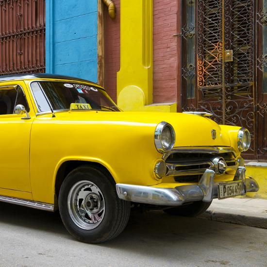 Cuba Fuerte Collection SQ - Close-up of Yellow Taxi of Havana IV-Philippe Hugonnard-Photographic Print