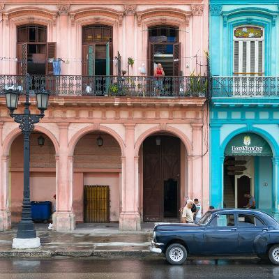 Cuba Fuerte Collection SQ - Colorful Architecture and Black Classic Car-Philippe Hugonnard-Photographic Print
