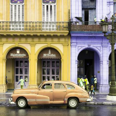 Cuba Fuerte Collection SQ - Colorful Architecture and Classic Golden Car-Philippe Hugonnard-Photographic Print