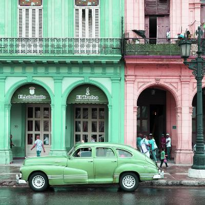 Cuba Fuerte Collection SQ - Colorful Architecture and Green Classic Car-Philippe Hugonnard-Photographic Print
