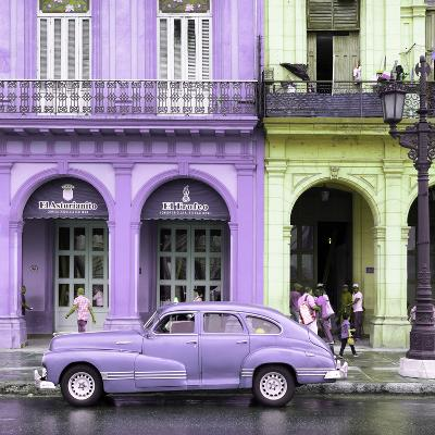 Cuba Fuerte Collection SQ - Colorful Architecture and Mauve Classic Car-Philippe Hugonnard-Photographic Print