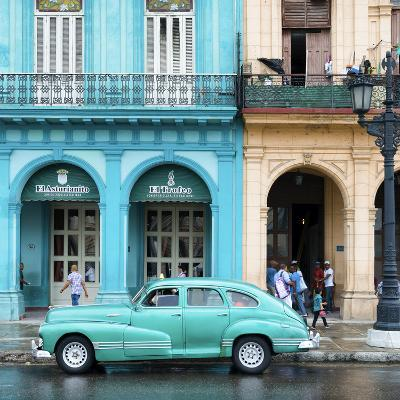 Cuba Fuerte Collection SQ - Colorful Architecture and Turquoise Classic Car-Philippe Hugonnard-Photographic Print