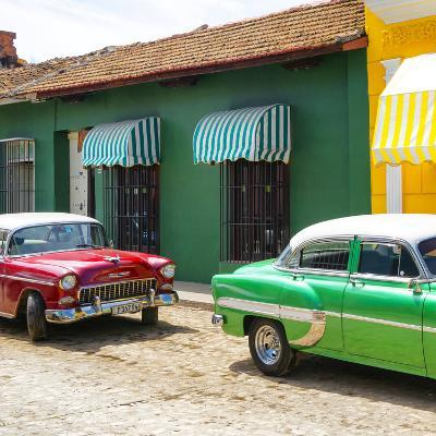 Cuba Fuerte Collection SQ - Cuban Green and Red Taxis-Philippe Hugonnard-Photographic Print