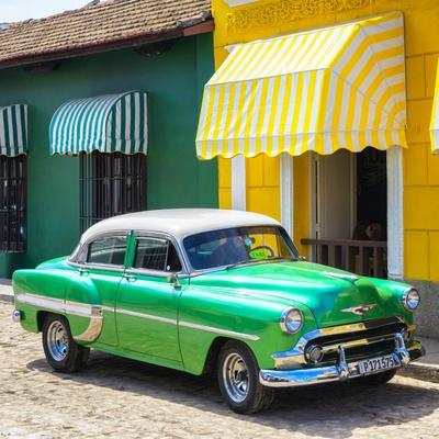 Cuba Fuerte Collection SQ - Cuban Green Taxi-Philippe Hugonnard-Photographic Print