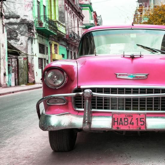 Cuba Fuerte Collection SQ - Detail on Pink Classic Chevrolet-Philippe Hugonnard-Photographic Print
