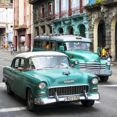 Cuba Fuerte Collection SQ - Green Taxi Cars Havana-Philippe Hugonnard-Photographic Print