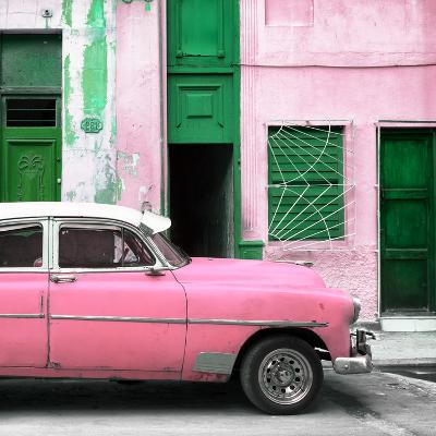 Cuba Fuerte Collection SQ - Havana's Pink Vintage Car-Philippe Hugonnard-Photographic Print
