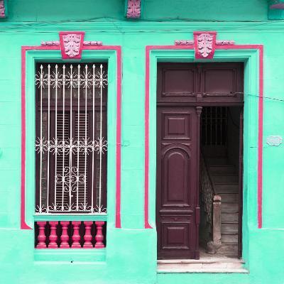 Cuba Fuerte Collection SQ - Havana Turquoise Façade-Philippe Hugonnard-Photographic Print