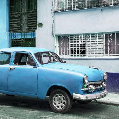Cuba Fuerte Collection SQ - Old Blue Car in the Streets of Havana-Philippe Hugonnard-Photographic Print