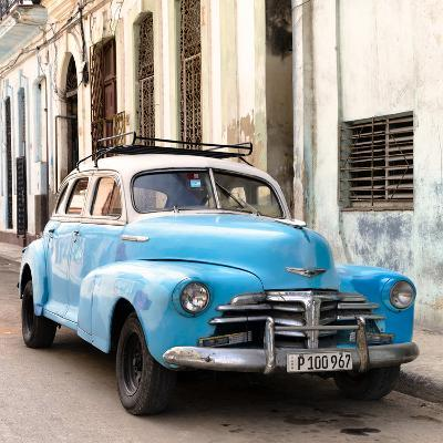 Cuba Fuerte Collection SQ - Old Blue Chevrolet in Havana-Philippe Hugonnard-Photographic Print