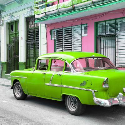 Cuba Fuerte Collection SQ - Old Cuban Green Car-Philippe Hugonnard-Photographic Print