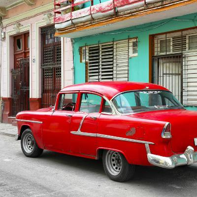 Cuba Fuerte Collection SQ - Old Cuban Red Car-Philippe Hugonnard-Photographic Print