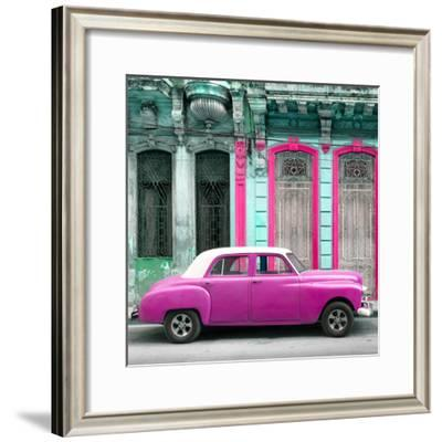 Cuba Fuerte Collection SQ - Pink Vintage Car in Havana-Philippe Hugonnard-Framed Photographic Print