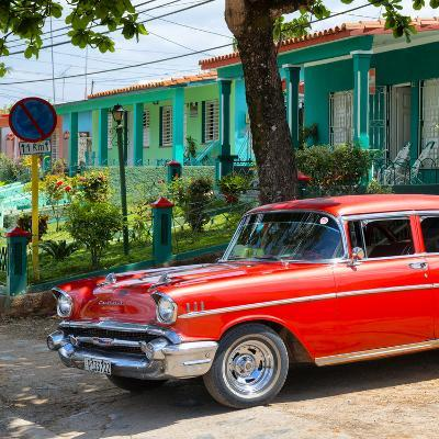 Cuba Fuerte Collection SQ - Red Classic Car in Vinales-Philippe Hugonnard-Photographic Print