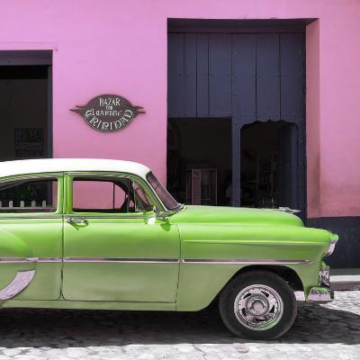 Cuba Fuerte Collection SQ - Retro Lime Green Car-Philippe Hugonnard-Photographic Print