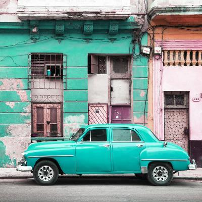 Cuba Fuerte Collection SQ - Turquoise Vintage American Car in Havana-Philippe Hugonnard-Photographic Print