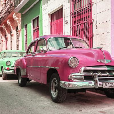 Cuba Fuerte Collection SQ - Two Chevrolet Cars Pink and Green-Philippe Hugonnard-Photographic Print