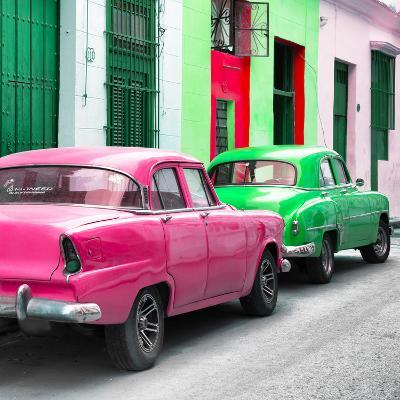 Cuba Fuerte Collection SQ - Two Classic American Cars - Pink & Green-Philippe Hugonnard-Photographic Print