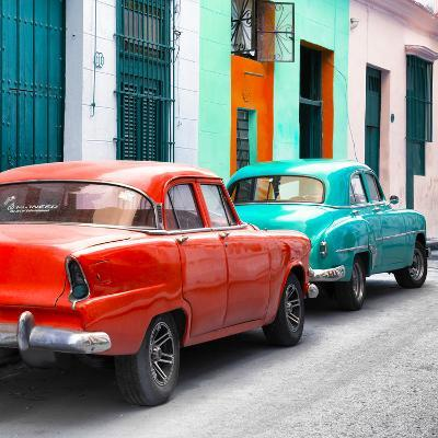 Cuba Fuerte Collection SQ - Two Classic American Cars - Red & Turquoise-Philippe Hugonnard-Photographic Print
