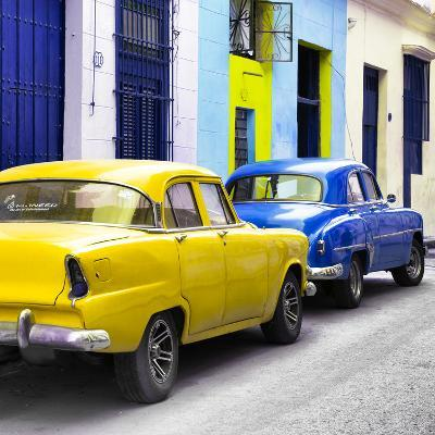 Cuba Fuerte Collection SQ - Two Classic American Cars - Yellow & Blue-Philippe Hugonnard-Photographic Print