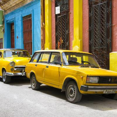 Cuba Fuerte Collection SQ - Two Yellow Cars in Havana-Philippe Hugonnard-Photographic Print
