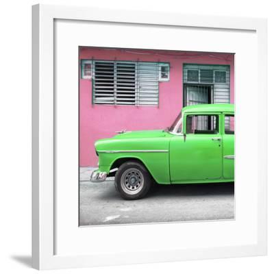 Cuba Fuerte Collection SQ - Vintage Cuban Green Car-Philippe Hugonnard-Framed Photographic Print