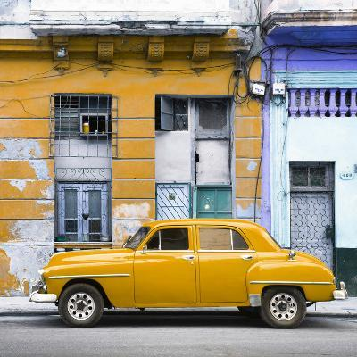 Cuba Fuerte Collection SQ - Yellow Vintage American Car in Havana-Philippe Hugonnard-Photographic Print