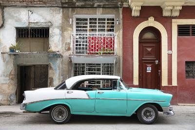 Cuba Fuerte Collection - Turquoise Classic Car in Havana-Philippe Hugonnard-Photographic Print