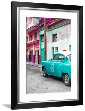 Cuba Fuerte Collection - Turquoise Taxi Car in Havana-Philippe Hugonnard-Framed Photographic Print
