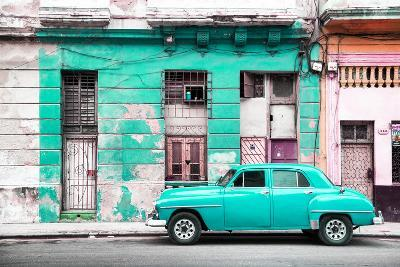 Cuba Fuerte Collection - Turquoise Vintage American Car in Havana-Philippe Hugonnard-Photographic Print