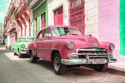 Cuba Fuerte Collection - Two Chevrolet Cars Pink and Green-Philippe Hugonnard-Photographic Print