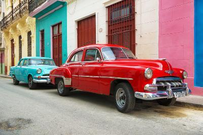 Cuba Fuerte Collection - Two Classic Red and Turquoise Cars-Philippe Hugonnard-Photographic Print
