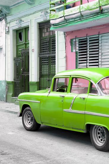 Cuba Fuerte Collection - Vintage Cuban Green Car-Philippe Hugonnard-Photographic Print