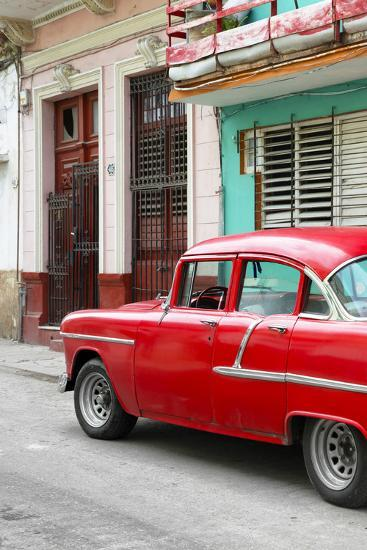Cuba Fuerte Collection - Vintage Cuban Red Car-Philippe Hugonnard-Photographic Print
