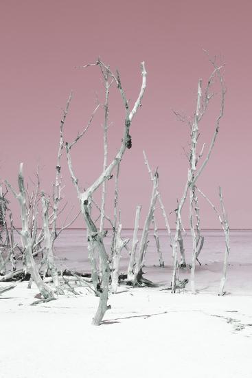 Cuba Fuerte Collection - Wild White Sand Beach II - Pastel Pink-Philippe Hugonnard-Photographic Print
